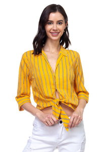 Stripe Knot Top Shirt