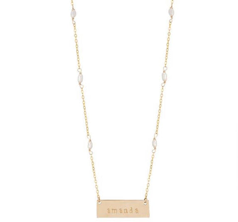 taudrey jackie name plate necklace personalized necklace pearl details