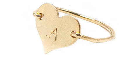taudrey gold heart hand stamped wire ring
