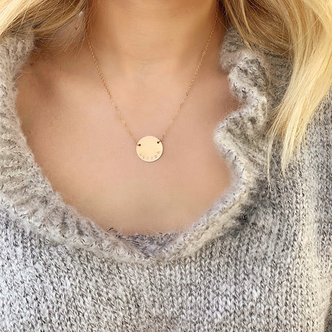 taudrey gold coin hand stamped personalize brave necklace by hannah tovar