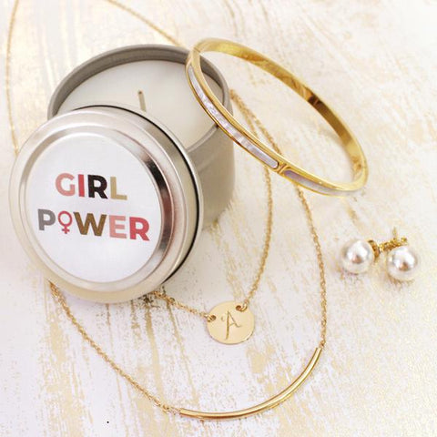 taudrey girl power candle gift set personalized gold layered necklace pearl bangle pearl studs