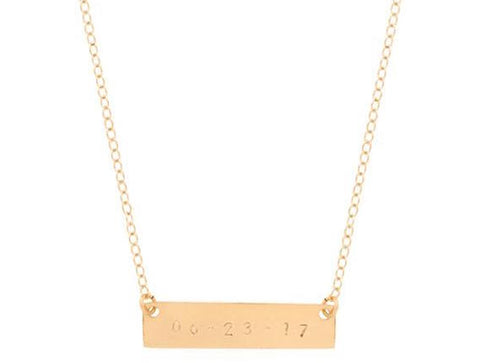taudrey gold personalized date plate necklace personalized Valentine's Day Gift