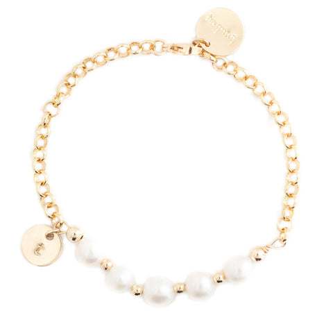 taudrey in a row gold chain pearl accented personalized bracelet