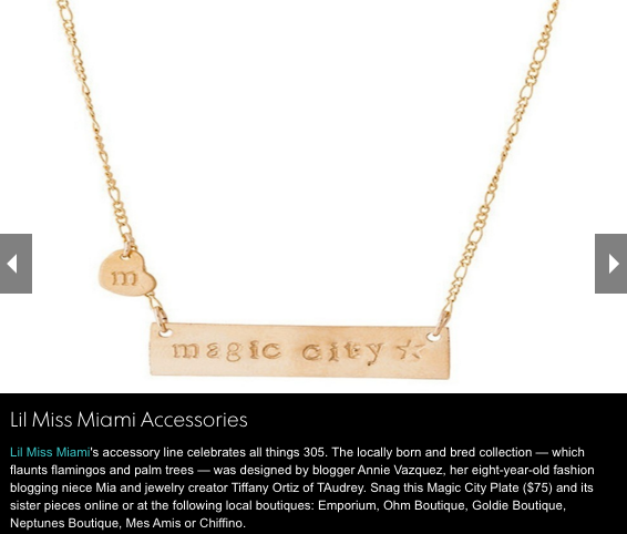 taudrey little miss miami necklace