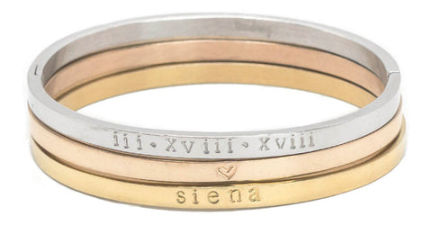 taudrey three piece personalized bangle set