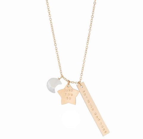 taudrey moon and back personalized star moon handcrafted necklace