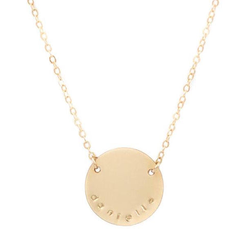 taudrey brave necklace personalized large coin gold necklace