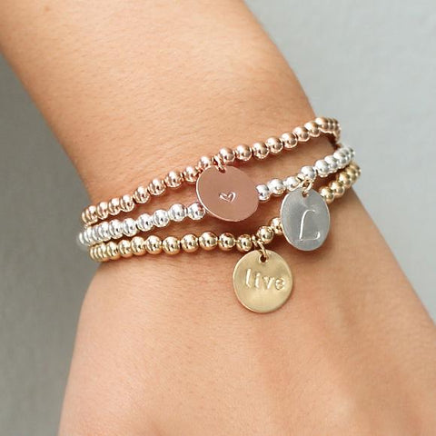 taudrey three little pretties bracelet set gold rose gold silver personalized mothers day gifts