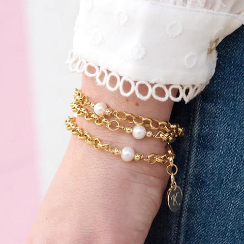 taudrey wrapped in pearls bracelet blogger collection kristin leahy gold link pearl personalize mothers day gift