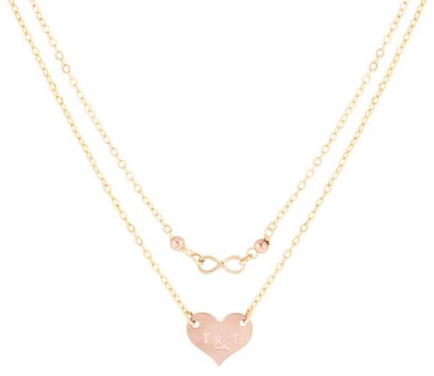 taudrey rose infinity necklace layered rose gold heart personalized Valentine's Day Gift