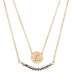 taudrey mini coin crystal layered necklace