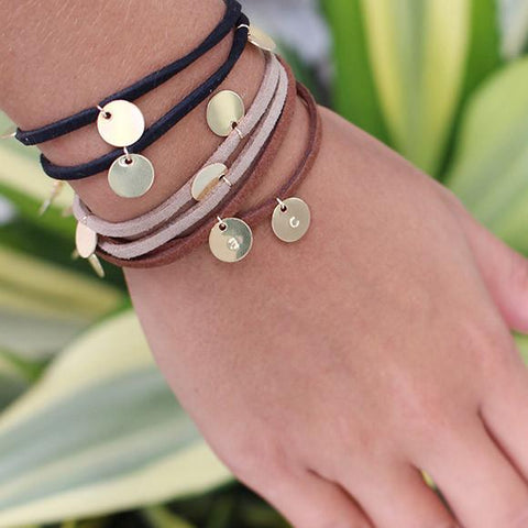 taudrey suede wrap bracelets with personalized gold-charms