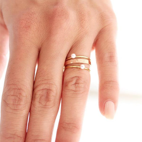 taudrey tickled pink personalized rose gold stackable ring set