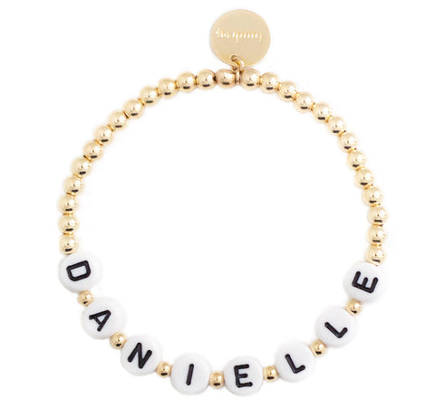 taudrey personalized letter block beaded bracelet