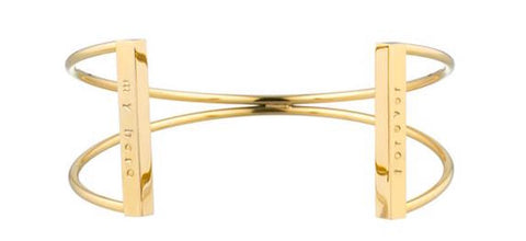 taudrey gold xo criss cross cuff personalized bars