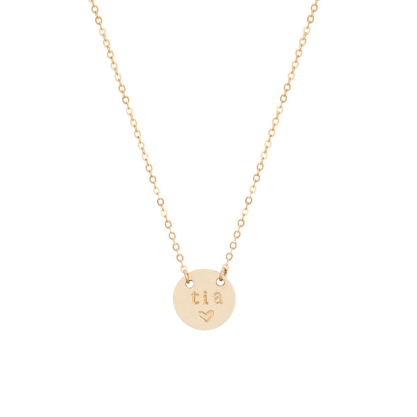 taudrey tia mini coin gold necklace handstamped with tia hispanic culture aunt mothers day gift