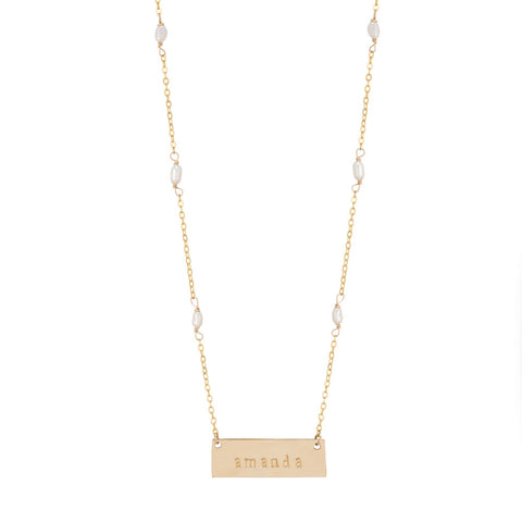 taudrey handcrafted personalized gold bar plate necklace pearl accented chain