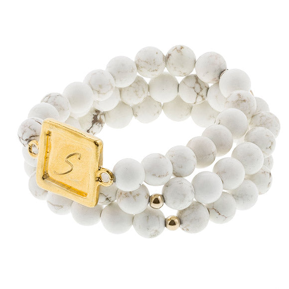 taudrey sabby set white personalized beaded bracelet set
