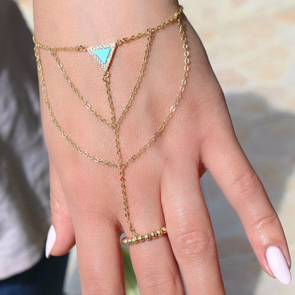 Taudrey Out of Hand Chain Turquoise Bracelet Gold