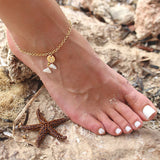 Taudrey Lets Be Mermaids Anklet Gold Chain Two Hanging Mermaid Tails