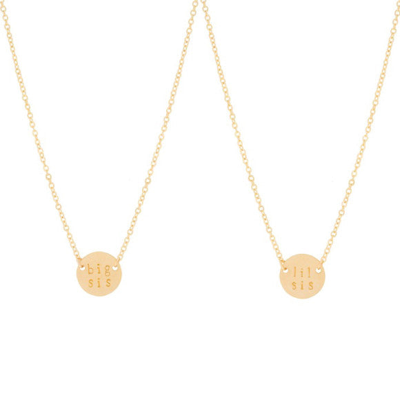 sister necklace gold set big sis lil sis