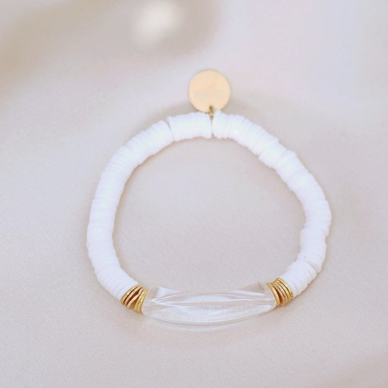 clearly in mauve bracelet white