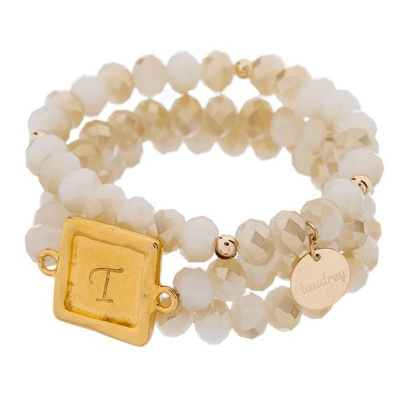 taudrey cream set rose personalized beaded bracelet set