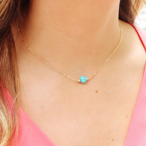 taudrey islander necklace simple dainty gold adjustable necklace with turquoise bead detail