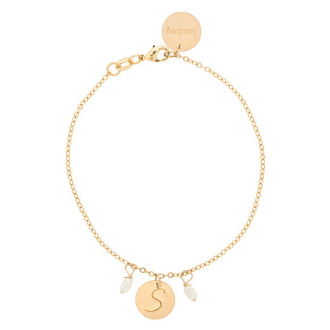 kids pearls and twirls gold bracelet with pearl and charm