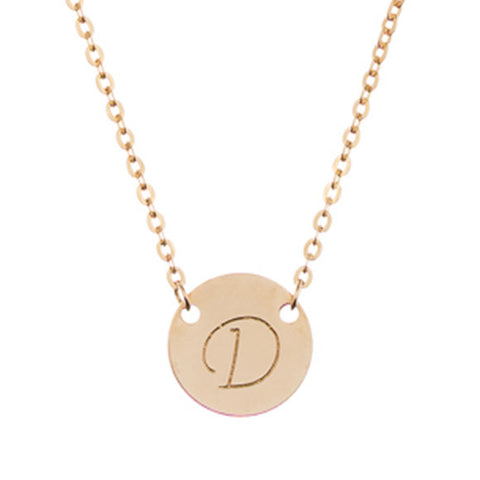 taudrey gold mini coin initial necklace gold personalized charm hand stamped with initial