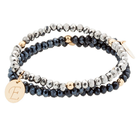 Taudrey Navy and Silver Bracelet Set