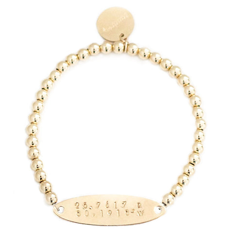 taudrey where in the world gold beaded bracelet gold plate personalized with coordinates
