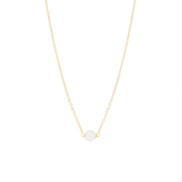 girls kids gold necklace with pearl