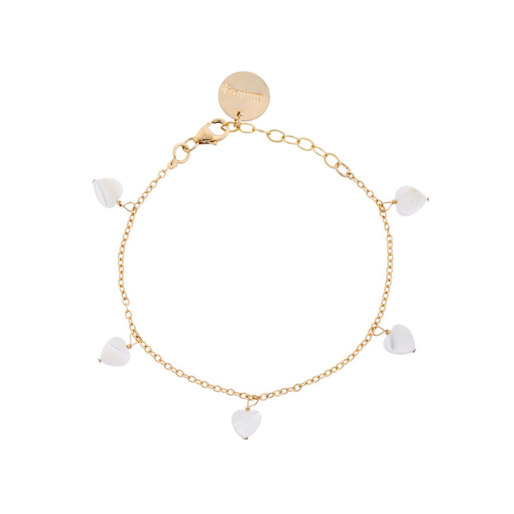 All my Hearts: Dainty Gold Bracelet with Heart-Shaped Pearl ...