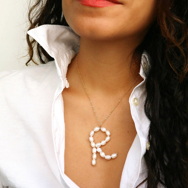 taudrey alpha pearl necklace fully handcrafted pearl letter detail gold wiring