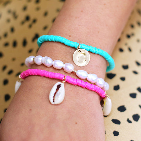 taudrey ariels bracelet set fuchsia pink turquoise shells personalized charm
