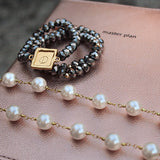 taudrey arm party boss lady silver beaded pearl bracelet stack styled