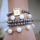 taudrey arm party boss lady silver beaded pearl bracelet stack