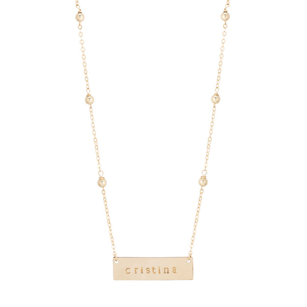 taudrey audrey handcrafted plate bar necklace personalized gold bead accents