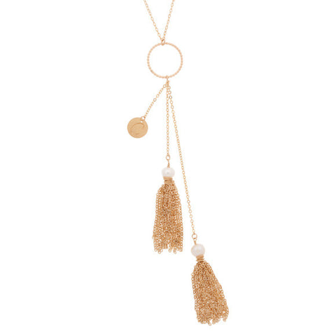 taudrey baby its gold outside gold y chain with personalized gold coin and hanging gold tassels