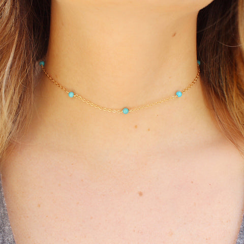 taudrey bad and beachy choker necklace gold or rose gold with dainty turquoise or coral beads