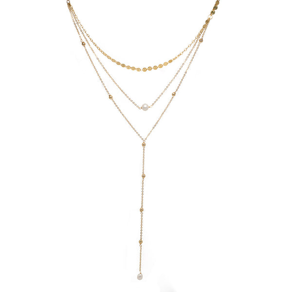 taudrey three piece pre layered lariat plunge necklace bailar luli fama collab necklace gold beads pearl details