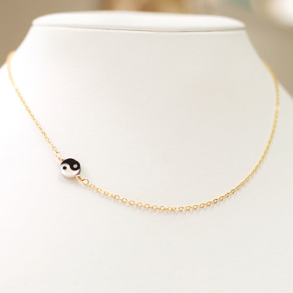 taudrey balance gold chain necklace petite ying yang charm