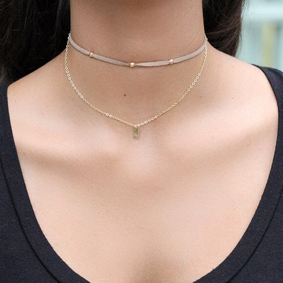 taudrey balancing act choker necklace beige suede layered gold chain personalized plate styled