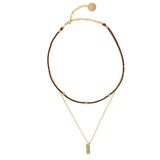 taudrey balancing act choker necklace brown suede layered gold chain personalized plate styled