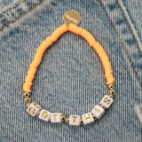 taudrey be bold light mango beaded bracelet personalized girl power letter block beads