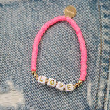 taudrey be bold tie dye pink beaded bracelet personalized girl power letter block beads