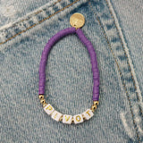 taudrey be bold purple beaded bracelet personalized girl power letter block beads
