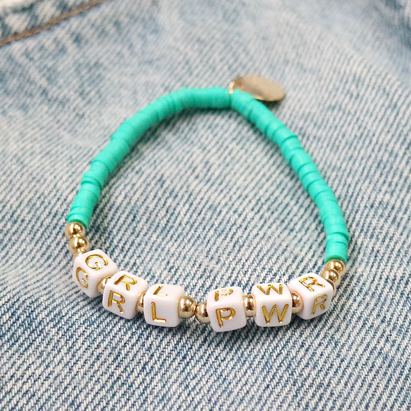 taudrey be bold turquoise beaded bracelet personalized girl power letter block beads