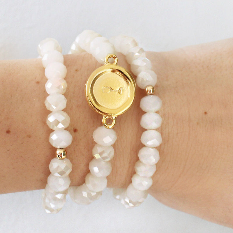 taudrey bead boss three piece beaded bracelet set personalized gold circular charm cream